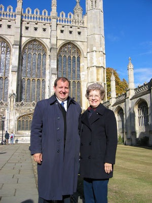 Mom and I taken in front of King's college chapel, Cambridge